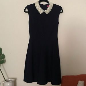 Betsey Johnson Navy Blue Faux-Pearl Collar Dress